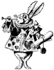 White Rabbit in Livery Blows Trumpet Unmounted Rubber Stamp