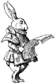 White Rabbit Reads Parchment-Scroll Unmounted Rubber Stamp