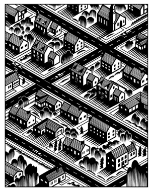 City Streets Unmounted Background Rubber Stamp