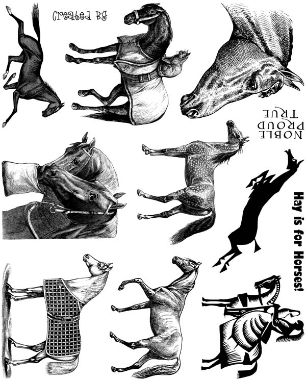 Horses Unmounted Rubber Stamp Sheet
