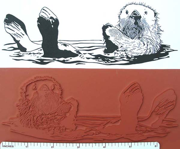 Sea Otter Unmounted Rubber Stamp