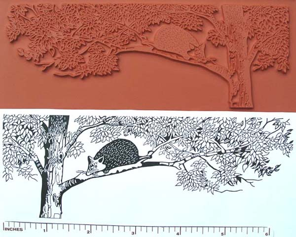 Opossum in Tree Unmounted Rubber Stamp