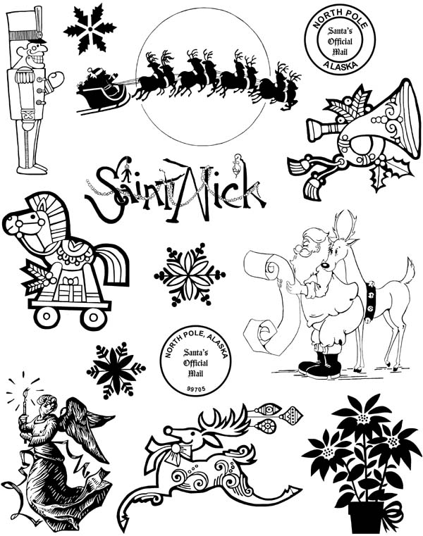 Christmas Set #2 Unmounted Rubber Stamp Sheet
